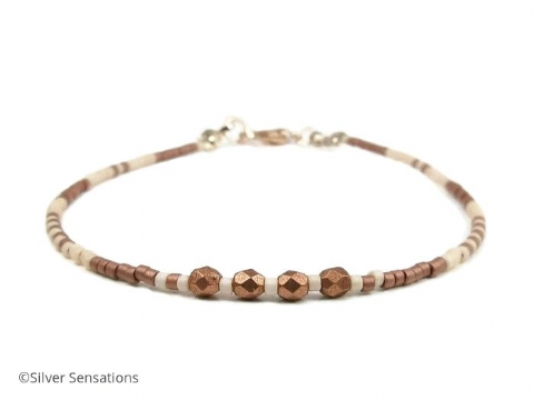 Dainty Coffee & Cream Boho Seed Bead Fashion Bracelet